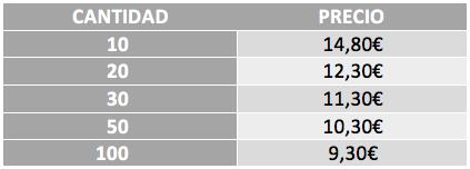 Tabla precios polos impresión delante + detrás + nombre 1 color
