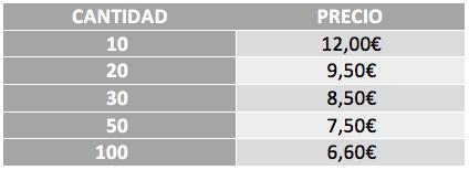 Tabla precios polos impresión delante + detrás 1 color
