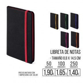 Libreta de notas A5  con banda elastica colores