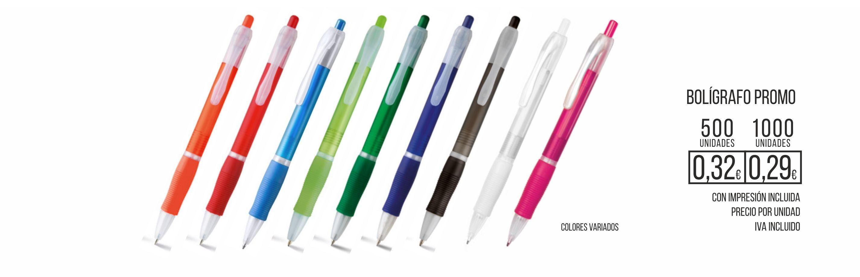 Bolígrafo Promo colores variados con impresión del logotipo de su empresa